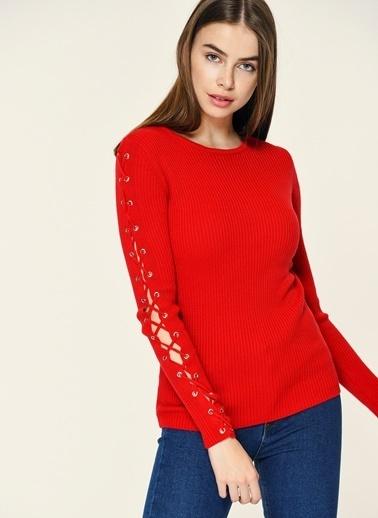 Loves You Kolu Kuşgözü Detaylı Triko Kazak Kırmızı